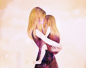 "Mother and daughter ""their world"" blonde art print"