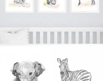 Neutral Nursery Decor, Set of 3 prints, Baby Animals Nursery, Watercolor Painting, Safari Wall Art Watercolour Print, New baby Gift, Gray