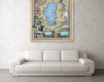 Lake Tahoe, lake tahoe art, lake tohoe print, lake tahoe map, lake tahoe wall art, poster, lake tahoe nv, map lake tahoe, art lake tahoe, NV