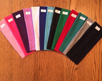 """HEADBANDS 2.5"""" cotton/lycra - ships within 24 hours!  LOTS of colors to choose!"""