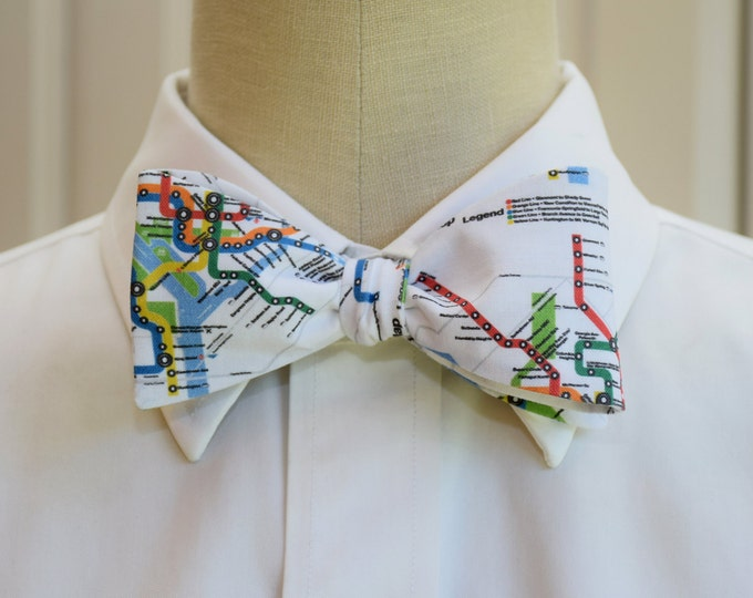 Men's Bow Tie in Washington D.C. Metro map design, self-tie, political gift, Nation's capital gift, DC lover bow tie, subway map bow tie