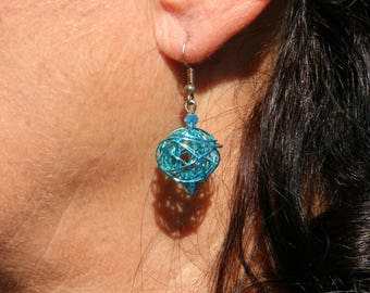 Blue metal ball shape earrings