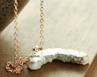 Rose Gold Druzy Necklace, April Birthday Druzy Crystal Slice Pendant Necklace, Modern Rustic Jewelry
