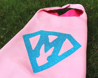 Super girl Cape, girls superhero cape, pink cape with hot pink liner and aqua supergirl symbol with custom initial, superhero costume, party