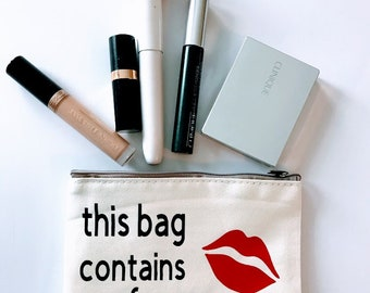 This Bag Contains My Face, Red Lips, Cosmetic Bag, Toiletry Bag, Travel Bag, Gift Bag, Makeup Pouch, Cosmetic Pouch, Cosmetic Storage