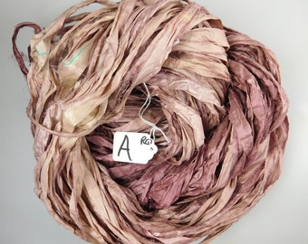 Silk Sari Ribbon, Sari silk ribbon, recycled ribbon, Rose Quartz sari ribbon, weaving supply, knitting supply, crochet supply, rug supply