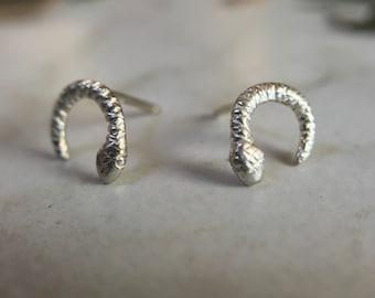 Silver Snake Stud Earring, Half Moon Snake, Snake Stud, Little Snake Earring, Tiny Snake Earring, Witch Jewelry, Snake Lover Jewelry