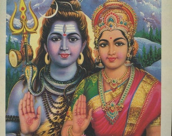 Shiva and Parvati ... Small Vintage Indian Hindu Devotional poster print