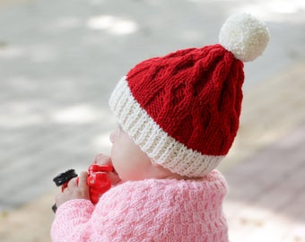 Knit christmas hat knit santa hat red christmas hat baby christmas hat red santa hat baby girl christmas outfit baby boy knit hat toddler