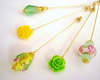 Meadows Hijab Pins Set- Stick Pins / Hat Pins / Decorative Pins / Eid Gifts / Bridal Gifts / Yellow Pins / flower pins / Lampwork Pins