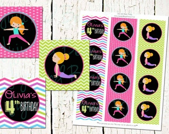 CUSTOM Yoga Party Circles-Yoga Party Cupcake Toppers-Favor Tags