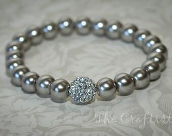 Grey Bracelet, Gray Bracelet, Gray Stretchy Bracelet, Gray Wedding, Gray Pearls and Gray Micro Pave Cz Balls, Bridesmaid Gift