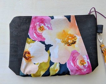 Floral Sunshine Wristlet with gray cork