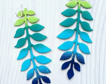 Leaf Earrings, Flower Earrings, Long Earrings, Leather Earrings, Colorful Earrings, Statement Earrings, Blue Green Earrings, RG Leather Art