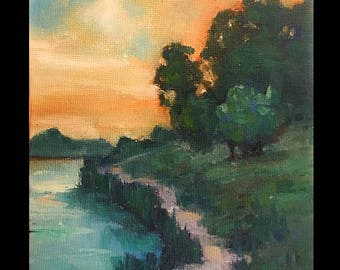 Original Mini Oil Marsh Landscape, River, Landscape, Clouds, Small Painting, beach, sunset, marsh, summer
