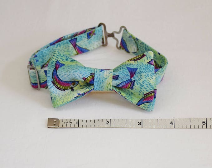 Boy's pre-tied Bow Tie, leaping fish/blue green, wedding accessory, toddler bow tie, fish lover bow tie, trout bow tie, boy's fish bow tie