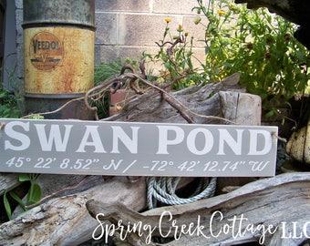 Sign, Custom, Coordinates, Latitude, Longitude, Farmhouse Decor, Nautical, Coastal Chic, Handpainted, Beach, Housewarming Gift