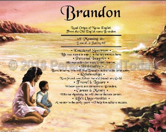 Mother and Son Name Meaning Origin Print Name Personalized Certificate 8.5 x 11 custom Name African American Mom and Boy Seaside Beach Ocean