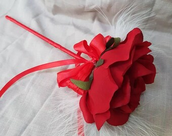 Flower wand, red rose and feather flower wand, silk flower wand