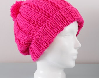 Pink Pom Pom Beanie Hat - Fuschia Knitted Slouch Chunky Merino Wool Acrylic Winter Accessory Gift for Her by Emma Dickie Design