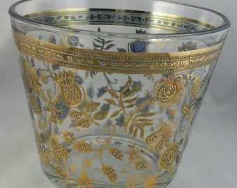 Vintage Glass Ice Bucket, Embossed Gold Floral Pattern Ice Bucket, Mid Century Barware, 1960s Barware