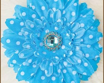 Turquoise Flower Hair Clip  - Turquoise Polka Dot Daisy Clip - Baby Hair Clip - Blue Daisy Hair Clip
