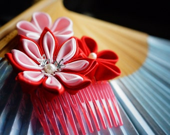 Red kanzashi hair comb accessory