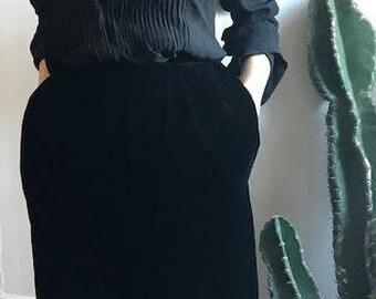 Vintage Black Velvet Skirt 1940s
