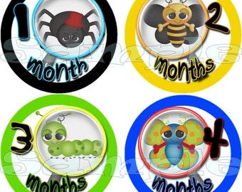 Month to Month set Baby Shower gift 1- 12 Month stickers Milestone stickers Onepiece Baby Boy Bugs Insects Monthly Stickers labels Calendar