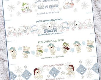 PDF - Let it Snow - Dishcloth Washcloth Wrappers - Labels, Tags