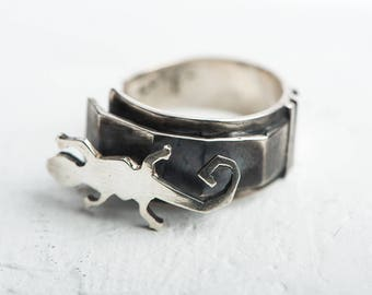 Polygon Salamander Ring, open size silver ring, elements, symbols, fire symbol, abstract