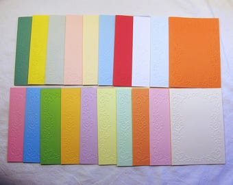 20 Greeting cards/double cards with frame embossing in 20 different colors