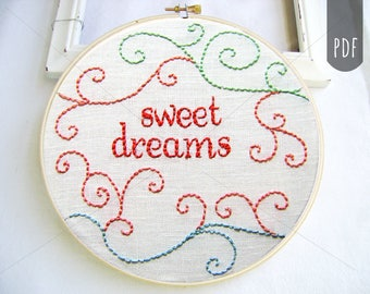 PDF Hand Embroidery Pattern, Sweet Dreams, Nursery Embroidery, Hand Stitching