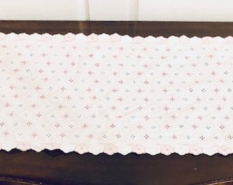 Vintage Purple and White Eyelet Table Topper or Runner