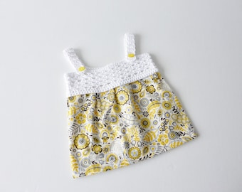 Sundress in yellow and white - newborn - crochet yoke with fabric skirt - organic cotton