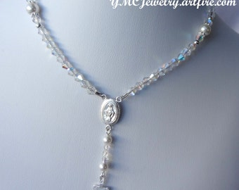 Sterling Silver Rosary Necklace, First Communion Rosary Necklace, Confirmation Rosary, First Rosary Necklace, Baptism Rosary Necklace