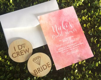 Watercolour Bridal Shower Invitation and Badge Set - 5 Pack of Invitations and badges.
