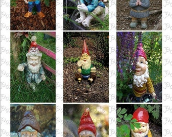 Gnome Digital Download Collage Sheet 2.5 x 3.5 inch