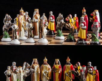Handmade Pewter Chess Sets Knight Crusade - hand painted chess