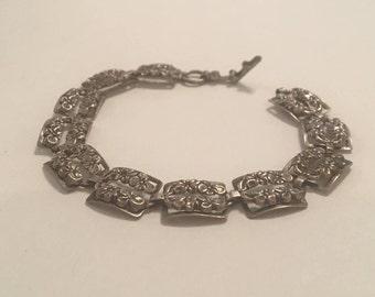 Vintage Beau Sterling Art Nouveau Flower Floral Sterling Silver 925 Link Bracelet