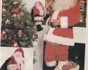 Vintage 1980's Santa Suit McCall's 8090 Santa Claus Costume Santa Bag Sewing Pattern Stuffed Santa to Make Christmas Costume Large UNCUT