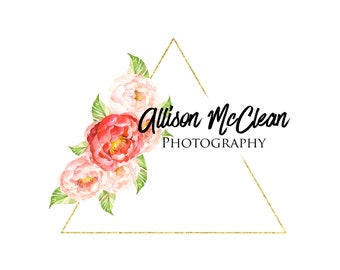 Triangle Logo, Gold Logo, Floral Logo, Pink and Gold Logo, Photography Logo, Pretty Logo, Feminine Logo, Geometric Logo, Logo Design, Logos