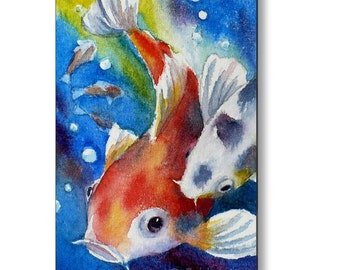 Koi Fish Art Print on Wood Nursery Kids Room Decor Printed Wall Art by Janet Zeh Zehland