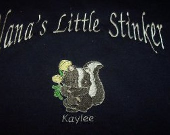 Little Stinker-Skunk-Grandparents-Family-Embroidered Sweatshirt or t-shirt-Family Saying-Custom Personalized Gift