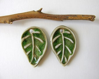 Green Leaf Charms Stoneware Clay