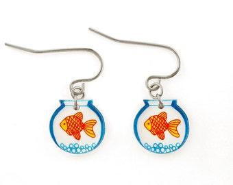 Goldfish Bowl Earrings (Transparency), Goldfish Jewelry, Goldfish Jewellery, Goldfish Gifts, Fish Earrings, Fish Jewelry, Shrink Plastic