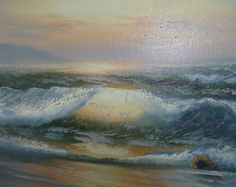 Custom Framed Art, Original Oil Painting of Ocean Waves on the Beach.