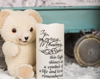 LED lights - miscarriage gift - wedding memorial candle - custom pillar candle - sympathy gift - In Loving Memory - Flameless candles