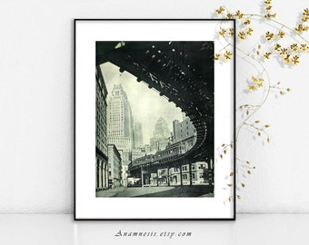 NEW YORK CITY art print - digital download - printable old photo retooled for framing, totes ,cards, pillows etc. - nostalgic home decor