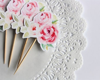 Floral Cupcake Toppers. Flower Cupcake Toppers. Floral Theme. Baby Shower. Bridal Shower. Wedding. Birthday Decorations. Spring. Summer.
